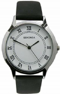 Sekonda 3022 Elegant Gents White Dial Black Strap Stainless Watch